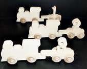 Handcrafted Wood Toy  Number Trains  unfinished for Erica