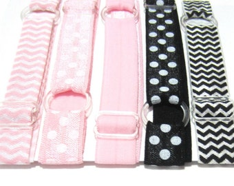 Set of 5 - Pink & Black, Preppy, Neopolitan Adjustable Elastic Headband, Hair Band, Girl, Baby, Woman Headband, Sport Headband