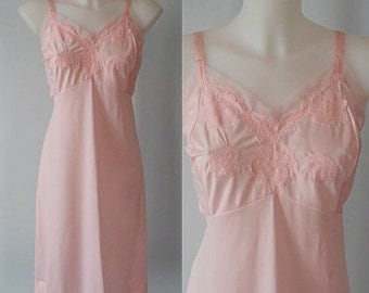 Vintage Pink Slip, Vintage Pink Fulll Slip, Vintage Slip, 1960s Full Slip, Love Lines by Gay Lure, Slip