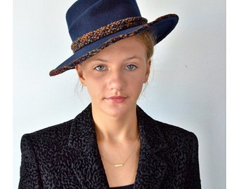 Vintage Hat, Vintage Hats, Studio Kokin, Kokin, Navy Blue Hat, Wide Brimmed Hat, Ladies Hat, Wool Hat, Fashion Hat, Kokin Hats