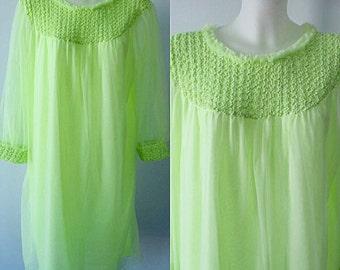 Vintage Chiffon Nightgown, Vintage Nightgown, 1960s Nightgown, Lime Green Chiffon Nightgown, Canadian Maid, Romantic