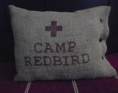 Camp RedBird Burlap Pillow