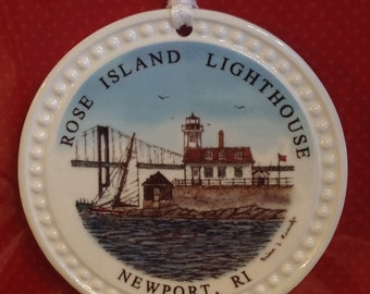 Christmas Ornament - Ceramic Rose Island Lighthouse