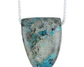 "Turquoise Shield Shaped Pendant Blue Necklace 16"""