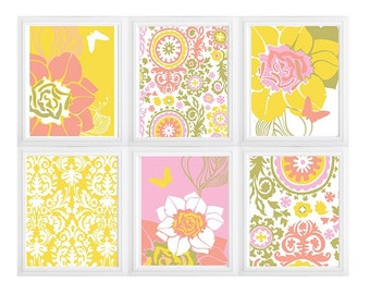 Colorful Floral Prints Moroccan style Wall Art Digital  Modern Home Decor -Yellow Coral Pink Olive Green Wall Art Vintage- SET of  6:)