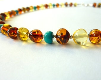 Amber Turquoise Necklace Beadedwork Amber Necklace