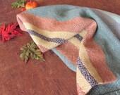 Autumn Stripe Kitchen Chef's Towel, Handwoven Light Green Gold & Pumpkin Orange Cotton Twill Farmhouse Cabin Cottage Fall Harvest Home Decor