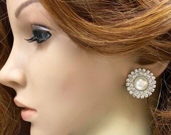 Pearl Bridal Earrings, Pearl Wedding Earrings, Pearl Earrings Studs, Pearl Bridal Studs, Pearl Wedding Studs, Pearl Rhinestone Studs