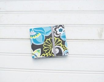 Blue and gray floral wallet