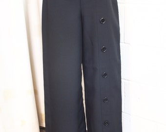 Wide leg button detail trousers