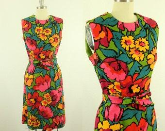 1960's Bright Floral Dress M L Cobbs Corner