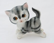 """Vintage Grey Tabby Cat Large Ceramic 7"""" Figurine - Small Kitten Statue by Wales - Japan 1950's - Original Label Intact"""