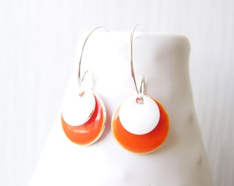 Orange Enamel Earrings - Modern Jewelry, Silver, White, Geometric, Hoops, Drop, Contemporary, Simple