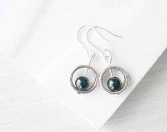 Simple Black Earrings, Minimalist Jewelry, Dangle, Onyx, Stone, Petite, Small, Sterling Silver, Semi Precious