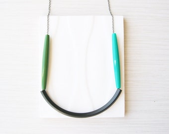 Statement Necklace, Simple Jewelry, Black, Turquoise, Green, Color Block, Modern, Beaded, Trendy, Noodle Bead, Long