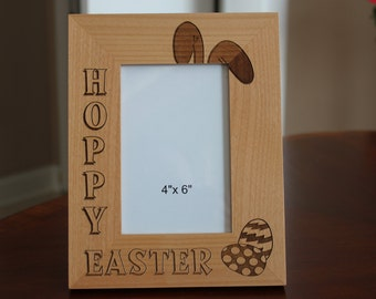 Wood Picture Frame, Engraved Wood Picture Frame, Easter Picture Frame, Easter Gift, Picture Frame, Hoppy Easter picture frame