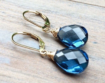 London Blue Topaz Quartz Earrings - Sterling Silver Gold fill Rose Gold Tarnished Silver