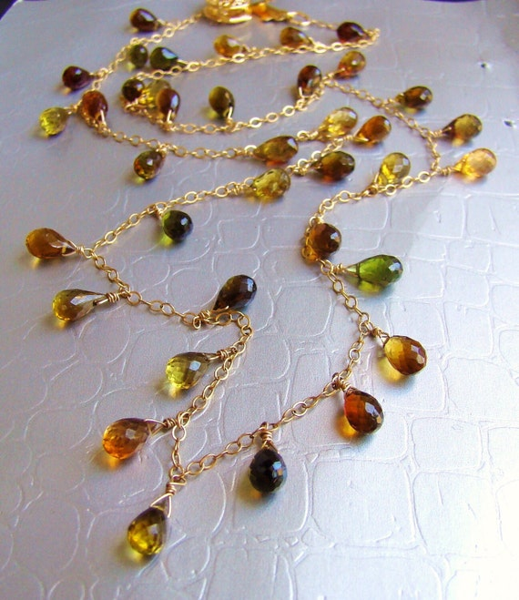Tourmaline stones Dainty Necklace AUTUMN. Gold fill, sterling silver, rose gold fill
