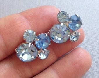 Light Blue Rhinestone Earrings Screw Back Coro