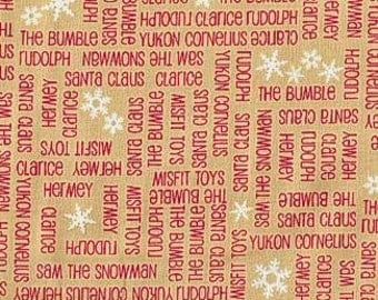 Rudolph and Friends from Quilting Treasures - Full or Half Yard Red Words on Yellow Gold with Snowflakes
