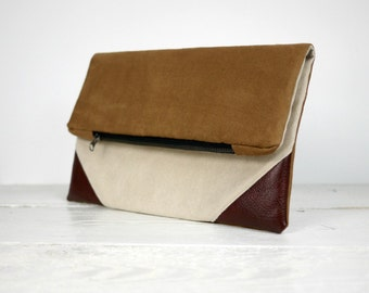Brown and Ivory fold over clutch