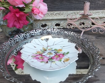 Vintage Ring Dish, Dresser Jewelry Dish, Floral Dish