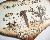 Fall Wedding Cake Topper, Rustic wedding, Shabby Chic, Boho Chic Silhouette, Tree, Falling Leaves, Country wedding, Wood Heart Pyrography