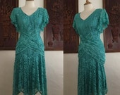 ON SALE Vintage 80s / Green / Lace / Flutter Sleeve / Keyhold Back / Cocktail / Party / Dress / Small / Size 5/6