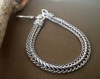Men's Silver rope chain bracelet, Men Silver bracelet, Modern chain weave bracelet Tribal style,Chainmaille Bracelet ZB032