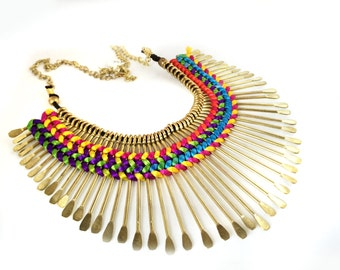Gold Fringe Necklace,Bib Necklace,Statement Jewelry,silk thread inlay,Summer Necklace by Taneesi