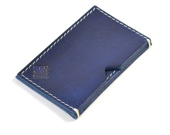 Handmade Leather Card Wallet Hand Dyed Navy Blue Vegetable Tanned