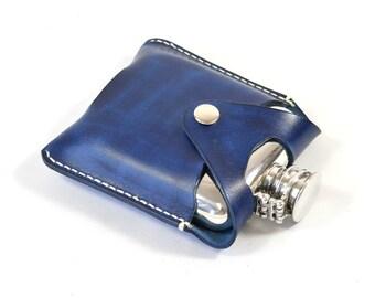 Handmade Pewter Vegetable Tanned Blue Leather 4oz Hip Flask