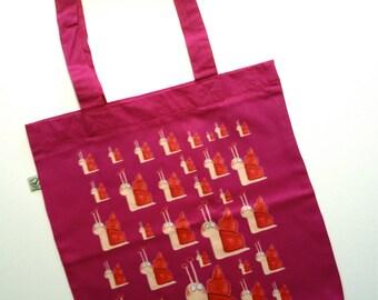 Snail Hilde cotton bag pink