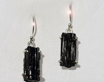 Midnight on Earth -  Natural Black Tourmaline Crystal Sterling Silver Earrings