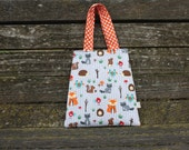 Woodland Animal Tote Kids Tote Girls Purse Girl Bag Toddler Tote Forest Handmade Toddler Mini Tote