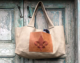 Handmade Tan Leather French Market Bag with Brown Leather Custom Embroidered Fleur de Lis Exterior Pocket