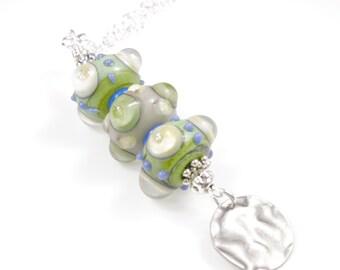"Boho Lampwork Bead Necklace - Green - Bead Necklace - 24"""