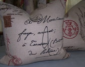 Linen Burlap Pillow Stamped with French Postale Script