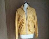 vintage 1990's rad leather jacket / track jacket style