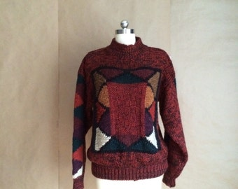 vintage 1990's color block sweater / womens