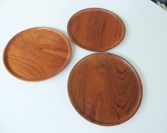 3 Danish teak plates trays, solid teak, mid century