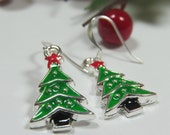 Xmas Tree Earrings, Christmas Earrings, Christmas Costume Jewelry, Green Xmas Tree Enamel Earrings, Xmas Earrings, Xmas Tree Charm, Yuletide