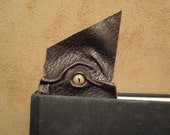Grichels leather bookmark - scaly dark brown with bronze speckled slit pupil reptile eye