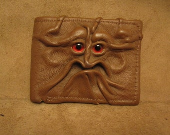 Grichels leather bi-fold wallet - caramel brown with custom red metallic eyes