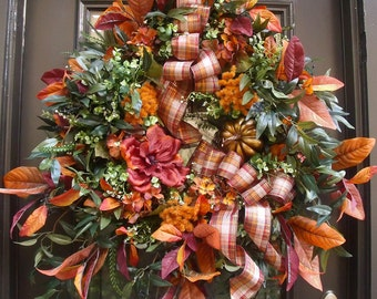 Thanksgiving Wreath, Elegant Fall Wreath, Mantel Wreath, XXL Wreaths, Fall Door Wreath