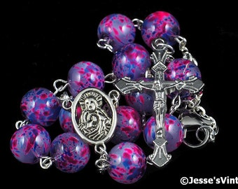 Auto Rosary Pocket Purple Pink Blue Glass Beads 1 Decade Silver