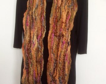 FRINGED WOOLLEN SCARF,  ochres and pinks, hand made