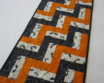 Halloween Table Runner, Handmade Table Runner, Quilted Table Runner, Bats, Stars and Words, Orange and Black, Halloween Decor