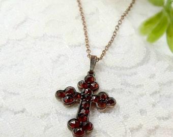 Vintage garnet orthodox cross || ГРАНАТ