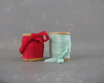 silk ribbon, vintage wood spools,red, mint green, supplies, gift wrapping, thin